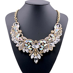Women's Crystal Bib Statement Necklace Ladies European White Red Blue 49 cm Necklace Jewelry For Party Evening Party