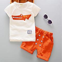 tanie Odzież dla chłopców-Brzdąc Unisex / Dla chłopców Solidne kolory / Kolorowy blok Krótki rękaw Krótkie Poliester Komplet odzieży Pomarańczowy 100 / Śłodkie