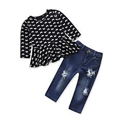 billige Tøjsæt til piger-Børn Baby Pige Ensfarvet Trykt mønster Langærmet Tøjsæt