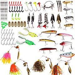 billiga Fiskbeten och flugor-101pcs st Lock förpackningar shad Skedar Spinnfluga Mjukt bete Plastik Metall Sjöfiske Kastfiske Drag-fiske