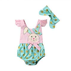 billige Babytøj-Baby Pige Aktiv Ferie Prikker / Trykt mønster / Farveblok Kort Ærme Bodysuit / Sødt