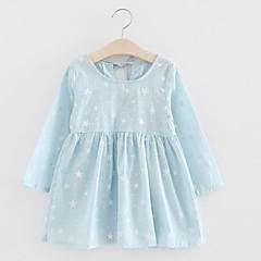 baratos Roupas de Meninas-Bébé Para Meninas Azul e Branco Galáxia Manga Longa Vestido