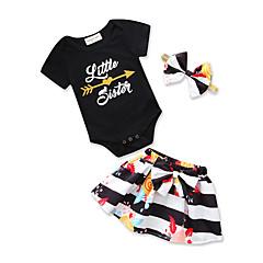 billige Sett med babyklær-Baby Pige Sort og hvid Stribet / Trykt mønster Kortærmet Tøjsæt