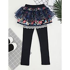 billige Bukser og leggings til piger-Børn Pige Blonde / Pænt tøj Broderi Bomuld Bukser Lyserød