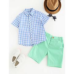 billige Tøjsæt til drenge-Baby Drenge Ternet Anden Kortærmet Normal Bomuld Tøjsæt Blå