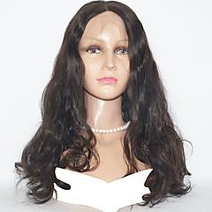 billiga Peruker och hårförlängning-Äkta hår Hel-spets Peruk Indiskt hår Vågigt 130% Densitet Naturlig / obearbetade / Bekväm Naturlig Mellanlängd Äkta peruker med hätta