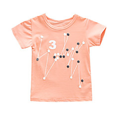 baratos Roupas de Meninas-Bébé Para Meninas Activo / Básico Diário / Feriado Geométrica Estampado Manga Curta Padrão Algodão / Poliéster Camiseta Branco 100