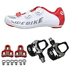 billige Sykkelsko-SIDEBIKE Voksen Sykkelsko med pedal og tåjern / Veisykkelsko Nylon Anti-Skli, Anvendelig Sykling Rød / Hvit Herre