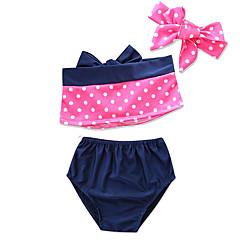 billige Badetøj-Børn / Spædbarn / Nyfødt Pige Ensfarvet / Prikker / Farveblok Uden ærmer Badetøj