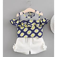 billige Babytøj-Baby Pige Aktiv Blomstret Uden ærmer Kort Bomuld Tøjsæt
