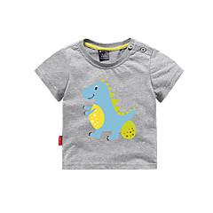 billige Babyoverdele-Baby Unisex Basale Trykt mønster Kortærmet Bomuld T-shirt Grå 110