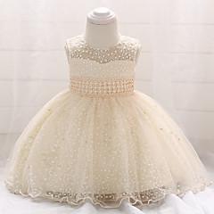 billige Babykjoler-Baby Pige Vintage I-byen-tøj / Fødselsdag Ensfarvet Uden ærmer Knælang Bomuld / Polyester Kjole Beige