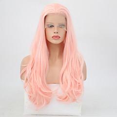 billiga Peruker och hårförlängning-Syntetiska snörning framifrån Vågigt Frisyr i lager Syntetiskt hår Värmetåligt Rosa Peruk Dam Lång Spetsfront