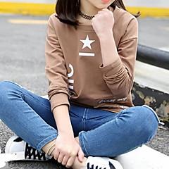 billige Hættetrøjer og sweatshirts til piger-Børn Pige Basale Geometrisk Trykt mønster Langærmet Bomuld Hættetrøje og sweatshirt