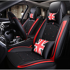 ODEER Car Seat Cushions Covers Black Red Textile Artificial Leather Common For Universal All Years Models