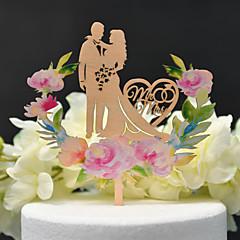 preiswerte Tortenfiguren & Dekoration-Tortenfiguren & Dekoration Klassisch / Hochzeit Ausgeschnitten Holz / Bambus Hochzeit / Jahrestag mit Seide aushöhlen 1 pcs OPP