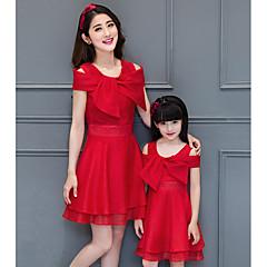 billige Sett med familieklær-Mamma og meg Ensfarget Kortermet Kjole