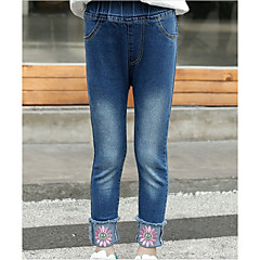 billige Bukser og leggings til piger-Børn Pige Aktiv Ensfarvet / Blomstret Broderi Bomuld Jeans