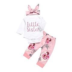billige Babytøj-Baby Pige Aktiv Trykt mønster Langærmet Lang Bomuld Tøjsæt