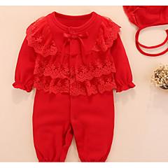 billige Babytøj-Baby Pige Basale Ensfarvet Blondér Halvlange ærmer Bomuld En del