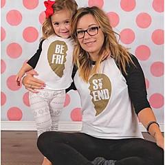 Χαμηλού Κόστους Σετ Ρούχων για την Οικογένεια-Μαμά και εγώ Βασικό Αργίες Συνδυασμός Χρωμάτων Μακρυμάνικο Πολυεστέρας Κοντομάνικο Χρυσό