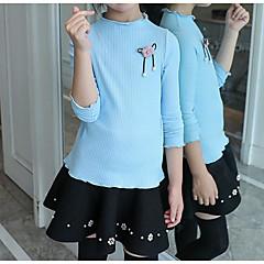 billige Sweaters og cardigans til piger-Børn Pige Basale / Gade Ensfarvet Langærmet Bomuld Trøje og cardigan