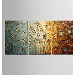 cheap Wall Art-Hand-Painted Modern Abstract Art Canvas Peacock Paintings Wall Home Decor Three Panels Ready To Hang