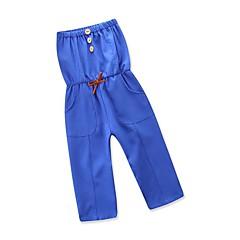 billige Babyunderdele-Baby Pige Vintage / Sofistikerede Daglig / Ferie Ensfarvet Uden ærmer Spandex Overall og jumpsuit Marineblå