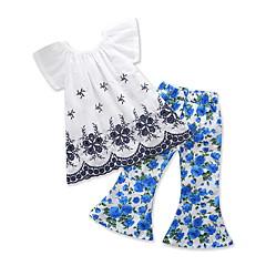 billige Sett med babyklær-Baby Pige Blomstret / Jacquard Vævning Kortærmet Tøjsæt