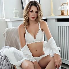 billige Moteundertøy-Kvinner Sexy Sett med truse og BH Dytt opp / Uten bøyle / Blonde-BH 3/4 Kop - Blomstret / Jacquardvevnad / Broderi