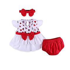 billige Babytøj-Baby Pige Gade Geometrisk Sløjfer Kortærmet Bomuld Tøjsæt
