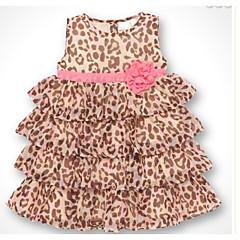 baratos Roupas de Meninas-Infantil Para Meninas Leopardo Sem Manga Vestido