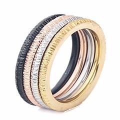 billige Motering-Par Elegant / Stable Ring Set / Multi-fingerring - Titanium Stål Kreativ Stilfull, Enkel, Unikt design 6 / 7 / 8 Regnbue Til Gate / Klubb
