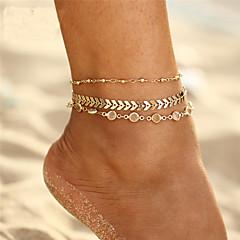 baratos Bijoux de Corps-Cristal Camadas tornozeleira - Onda Boêmio, Fashion Dourado Para Feriado Bikini Mulheres