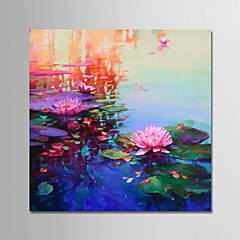 cheap -Oil Painting Hand Painted - Landscape Floral / Botanical Modern Rolled Canvas
