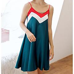 billige Moteundertøy-Dame Med hette Skjorter og kjoler / Dress Pyjamas - Ensfarget