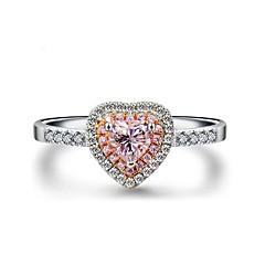 billige Motering-Dame Kubisk Zirkonium Stable Ring / Forlovelsesring - Platin Belagt, S925 Sterling Sølv Hjerte Romantikk 5 / 6 / 7 Rosa Til Engasjement / Gave