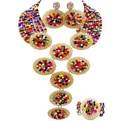 baratos Conjuntos de Bijuteria-Mulheres Camadas Conjunto de jóias - MOON Fashion Incluir Strands Necklace Verde / Rosa / Champanhe Para Festa / Feriado