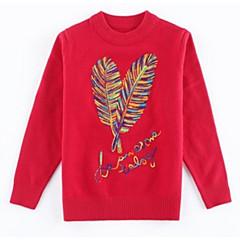 billige Sweaters og cardigans til piger-Børn Pige Basale Blomstret Langærmet Bomuld Trøje og cardigan