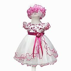 billige Babykjoler-Baby Pige Vintage I-byen-tøj / Fødselsdag Blomstret Kortærmet Knælang Bomuld / Polyester Kjole Lyserød 100