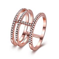 billige Motering-Dame Kubisk Zirkonium Elegant Midi Ring - Mote 6 / 7 / 8 Hvit / Rose Gull Til Bursdag / Aftenselskap