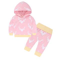billige Sett med babyklær-Baby Pige Basale Trykt mønster / Farveblok Langærmet Bomuld Tøjsæt