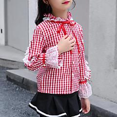 billige Pigetoppe-Børn Pige Aktiv / Gade I-byen-tøj Ternet / Patchwork Blonder Langærmet Skjorte