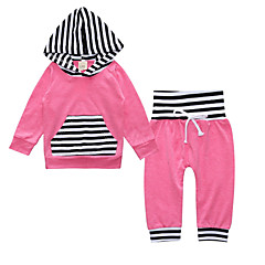 billige Sett med babyklær-Baby Pige Basale Stribet / Farveblok Langærmet Bomuld Tøjsæt