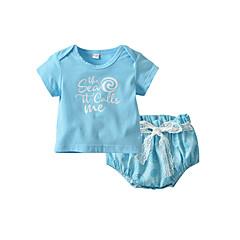 billige Sett med babyklær-Baby Pige Afslappet / Aktiv Daglig Blå & Hvid Trykt mønster Blonder Kortærmet Kort Polyester Tøjsæt Lyseblå