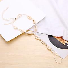 baratos Bijoux de Corps-Entrançado tornozeleira - Imitação de Pérola Concha Fashion, Boho, Elegante Branco Para Carnaval / Para Noite / Mulheres
