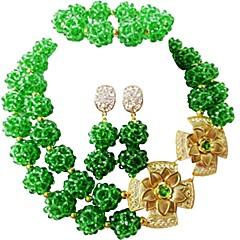 baratos Conjuntos de Bijuteria-Mulheres Camadas Conjunto de jóias - Cristal Austríaco MOON Fashion Incluir Strands Necklace Verde / Azul / Rosa Para Casamento Festa