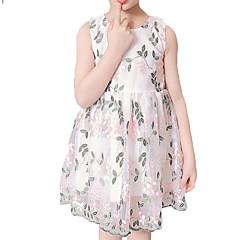 baratos Roupas de Meninas-Infantil / Bébé Para Meninas Floral Sem Manga Vestido
