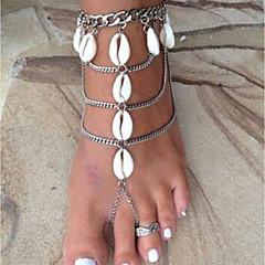 billige Kropssmykker-Lag-på-lag Barfotsandaler - Skall Sol, Skall Stilfull, Klassisk Sølv Til Bikini Dame
