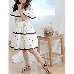 Χαμηλού Κόστους Φούστες για κορίτσια-Παιδιά Κοριτσίστικα Μπόχο Μονόχρωμο / Πουά Αμάνικο Βαμβάκι Φόρεμα